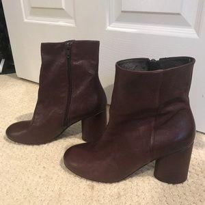 Dark maroon Free People vegan leather booties